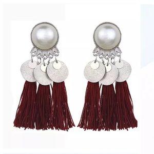 Bohemian Tassel Medallion Earrings